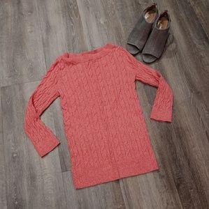 Loft Pink Heathered Scoop Neck Sweater